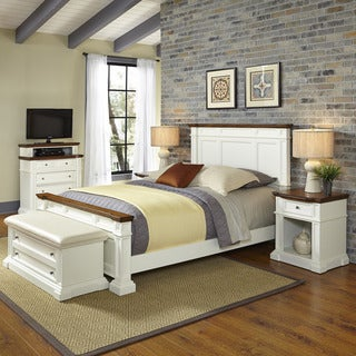 Americana White and Oak Bed, Two Night Stands, Media Chest, and Upholstered Bench