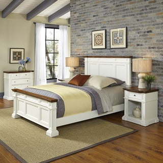 Americana White and Oak Bed, Two Night Stands, and Chest