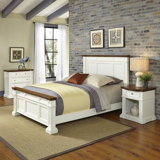 Americana White and Oak Bed, Night Stand, and Chest