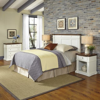 Home Styles Americana White and Oak Headboard, Two Night Stands, and Chest