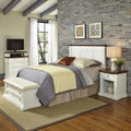 Home Styles Americana White and Oak Headboard, Night Stand,  Media Chest, and Upholstered Bench