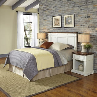 Home Styles Americana White and Oak Headboard and Two Night Stands