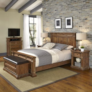 Home Styles Americana Vintage Bed, Two Night Stands, Media Chest, and Upholstered Bench