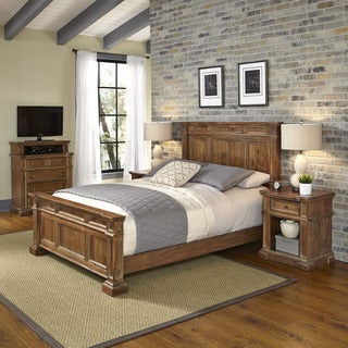 Home Styles Americana Vintage Bed, Two Night Stands, and Media Chest