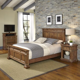 Home Styles Americana Vintage Bed, Night Stand, and Media Chest