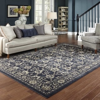 Persian All-Over Persian Navy/ Grey Rug (1'10 x 3'0)