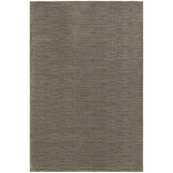 Distressed Stripe Grey/ Brown Rug (1'10 x 3'0)