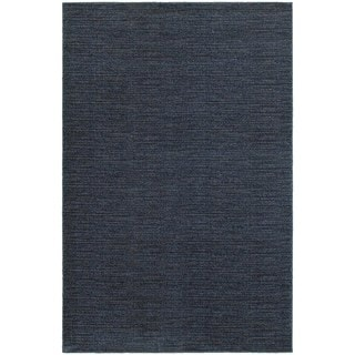 Distressed Stripe Navy/ Grey Rug (1'10 x 3'0)