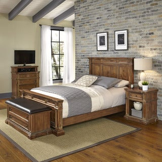 Home Styles Americana Vintage Bed, Night Stand, Media Chest, and Upholstered Bench
