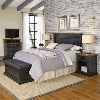 Americana Black and Oak Headboard, Two Night Stands, Media Chest, and Upholstered Bench