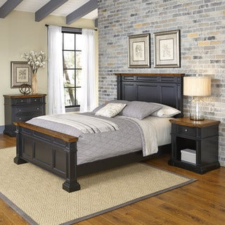 Home Styles Americana Black and Oak Bed, Night Stand, and Chest