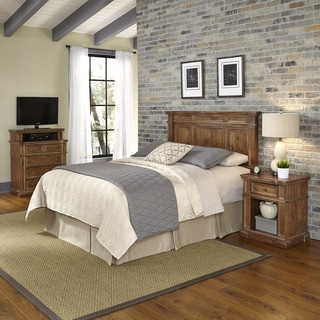 Home Styles Americana Vintage Headboard, Night Stand, and Media Chest