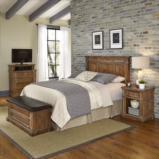 Home Styles Americana Vintage Headboard, Night Stand, Media Chest, and Upholstered Bench