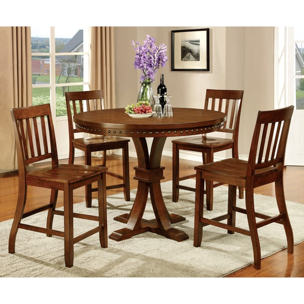 America Ralphie Industrial Style Dark Oak Counter Height Dining Table