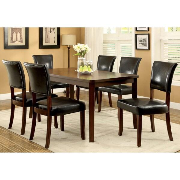 Furniture of America Hallins 7-piece Medium Oak Dining Set