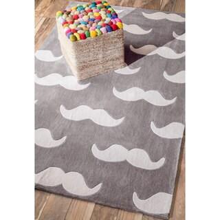 nuLOOM Handmade Modern Mustache Grey Rug (5' x 8')