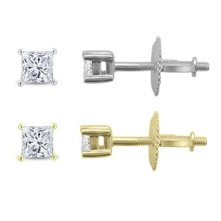 14k Gold 1/3ct TDW Princess-cut Certified Diamond Stud Earrings (H-I, SI2-I1)