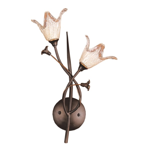 Aged Bronze and Hand Blown Tulip Glass Fioritura Collection 2 -Light Wall Bracket