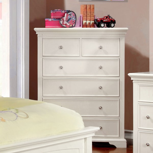 Furniture of America Elegant Tiana White 6-Drawer Chest