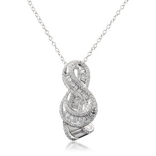 14k White Gold 1 1/3ct TDW Baguette and Round-cut Diamond Necklace (G-H, VS1-VS2)