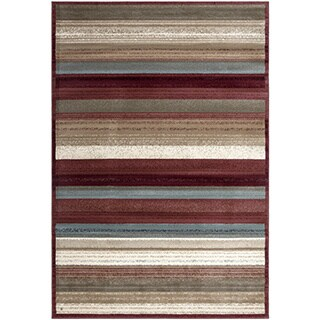 Regal Multi-color Contemporary Striped Design Area Rug (7'10 x 10'6)