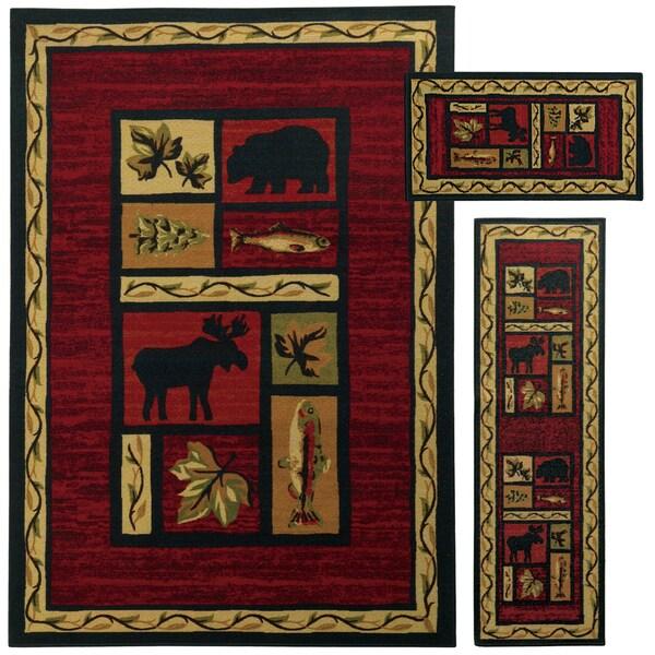 Red/ Black Animal Southwest Lodge 3-piece Rug Set