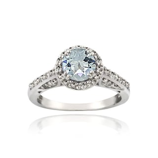 Glitzy Rocks Sterling Silver Aquamarine White Topaz Halo Ring