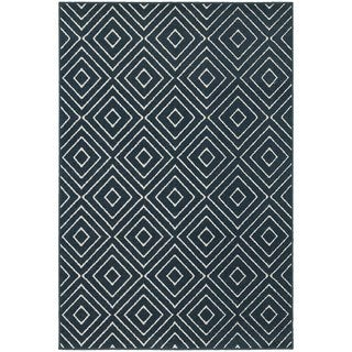 Navy/ Ivory Geometric Diamond Area Rug (3'3 x 5'0)