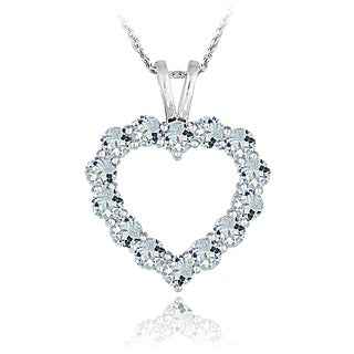 Glitzy Rocks Sterling Silver Aquamarine Open Heart Necklace