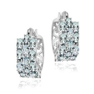 Glitzy Rocks Sterling Silver Aquamarine 3-tier Hoop Earrings