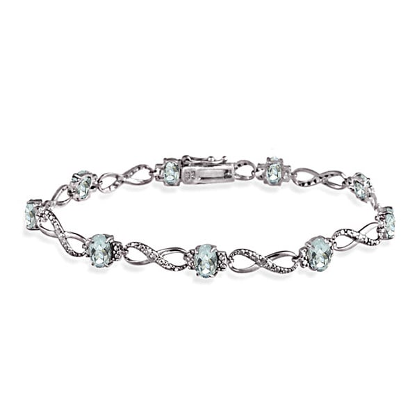 Glitzy Rocks Sterling Silver Aquamarine Diamond Accent Infinity Bracelet 14959689
