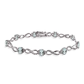 Glitzy Rocks Sterling Silver Aquamarine Diamond Accent Infinity Bracelet