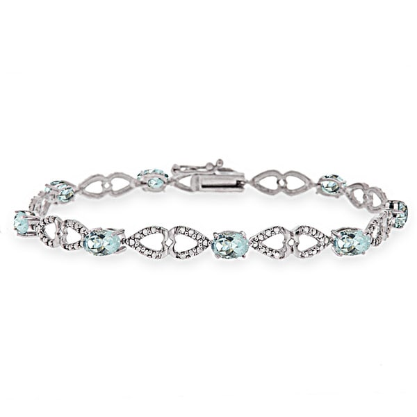 Glitzy Rocks Sterling Silver Aquamarine Diamond Accent Heart Link Bracelet 14959690