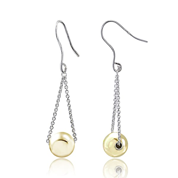 Mondevio Two-gone Sterling Silver Ball Bead Rolo Chain Fish Hook Earrings