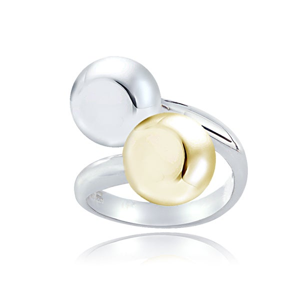 Mondevio Two-tone Sterling Silver Ball Bead Twist Ring