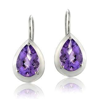 Glitzy Rocks Sterling Silver Gemstone Teardrop Leverback Earrings
