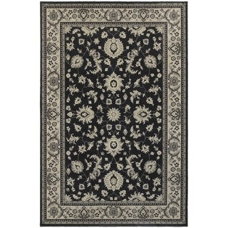 Traditional Persian Charcoal/ Ivory Bordered Area Rug (6'7 x 9'6)
