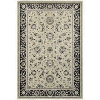 Traditional Persian Ivory/ Navy Bordered Area Rug (6'7 x 9'6)
