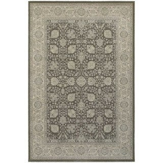 Bordered Brown/ Ivory Floral Panel Area Rug (5'3 x 7'6)