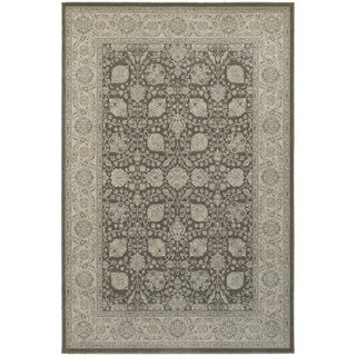 Bordered Brown/ Ivory Floral Panel Area Rug (6'7 x 9'6)