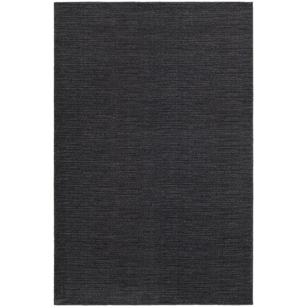 Distressed Navy/ Grey Stripe Area Rug (6'7 x 9'6)