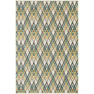 Ivory/ Grey Argyle Chevron Area Rug (6'7 x 9'6)