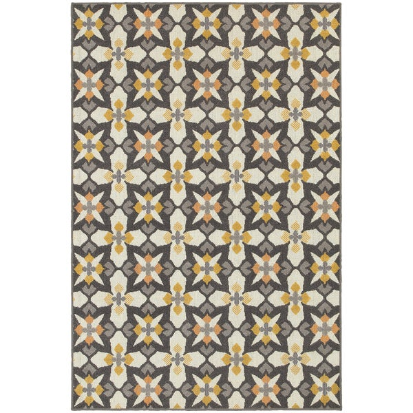 All-over Grey/ Gold Cross Panel Area Rug (6'7 x 9'6)