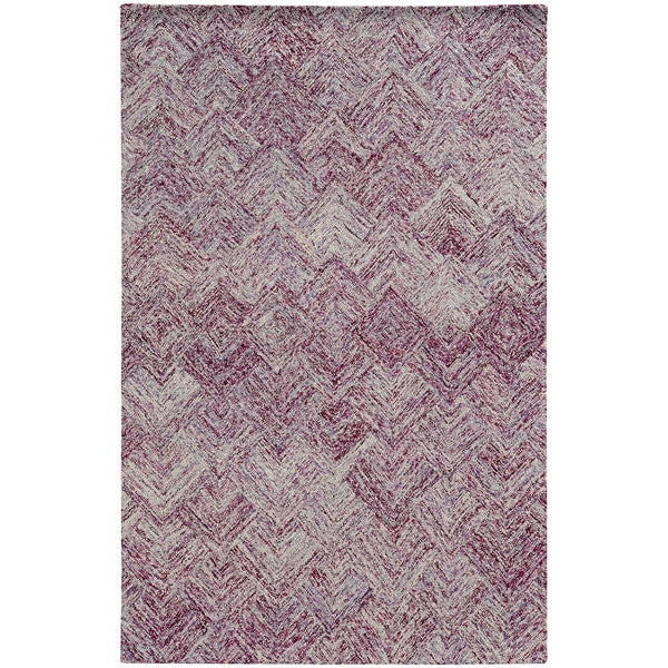 Colorscape Loop Pile Faded Diamond Purple/ Purple (5' x 8')