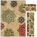 Floral Medallion Beige/ Green 3-piece Set