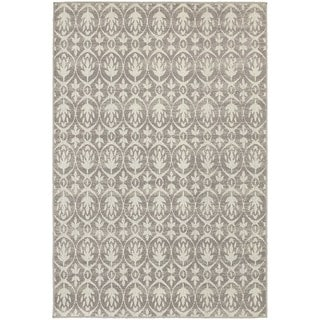Distressed Leaf Pattern Grey/ Ivory Rug (5'3 x 7'6)