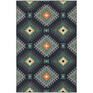 Geometric Tribal Navy/ Grey Rug (5'3 x 7'6)