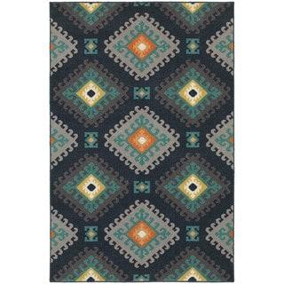 Geometric Tribal Navy/ Grey Rug (5'3 x 7'6)
