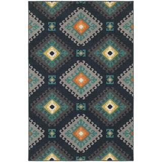 Geometric Tribal Navy/ Grey Rug (6'7 x 9'6)