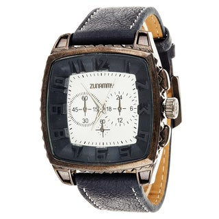 Xtreme Zunammy Men's Square Gunmetal/ Black Leather Watch